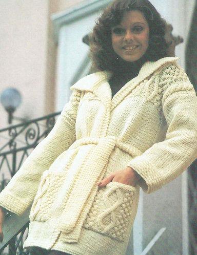 1346H ladies chunky cardigan coat Vintage knitting pattern  PDF Download