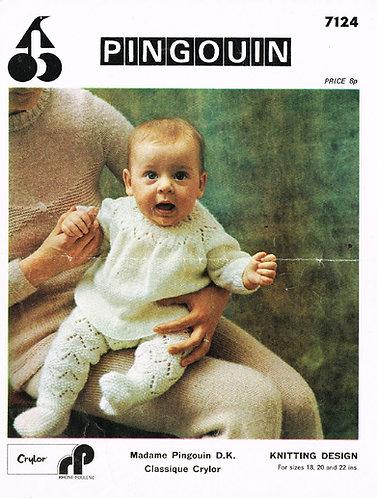 7124P baby jumper suit vintage knitting pattern  PDF Download