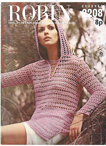 2208R ladies hoodie vintage crochet pattern  PDF Download