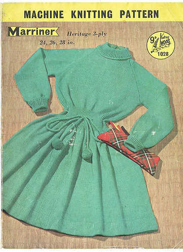 1028M girls dress machine knitting vintage pattern PDF Download