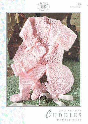 Cuddles 1292 baby lacy pram suit vintage knitting pattern PDF Download