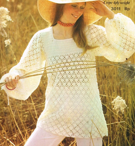 3011 ladies tunic Vintage crochet pattern  PDF Download