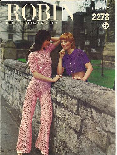 2278R ladies trouser suits vintage crochet pattern  PDF Download