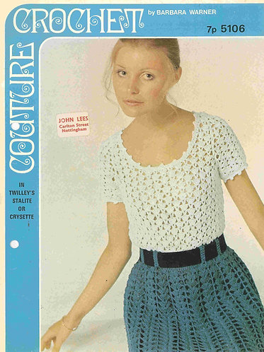 5106BW ladies dress vintage crochet pattern PDF