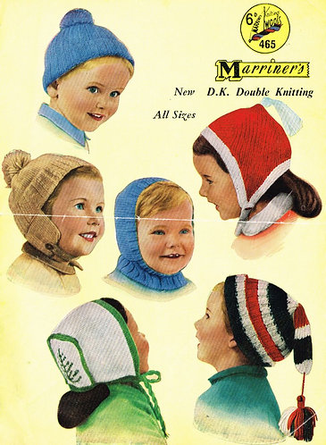 465M baby childrens hats vintage knitting pattern  PDF Download