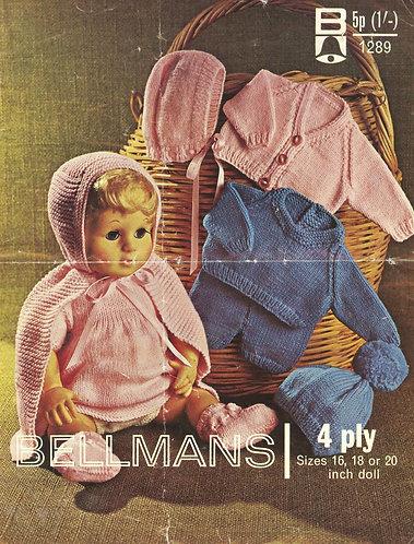1289Bell dolls vintage knitting pattern PDF