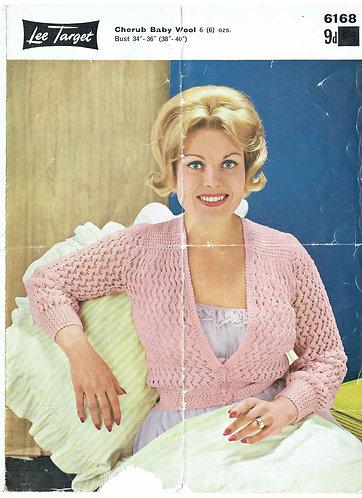 6168Lt ladies bedjacket vintage knitting pattern  PDF download