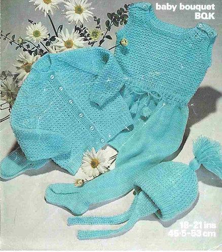 1669M baby pram suit vintage knitting pattern  PDF Download