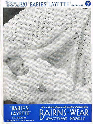 Bairnswear 1220 baby vintage knitting pattern PDF