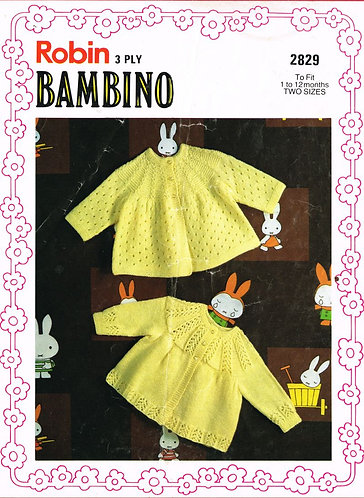 2829R baby matinee coats vintage knitting pattern  PDF Download