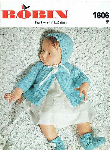 1606R baby matinee coats set vintage knitting pattern  PDF Download