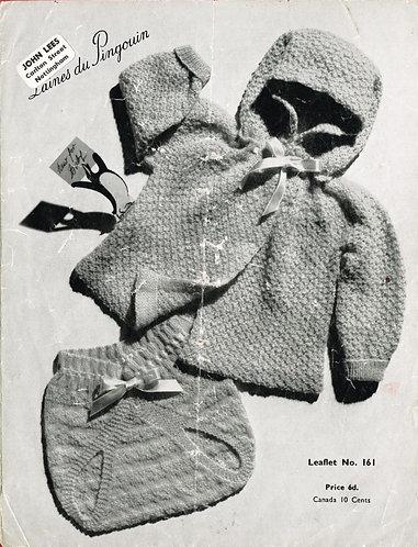 161P baby matinee coat set vintage knitting pattern  PDF Download