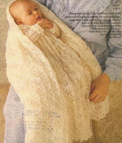 7915P baby christening dress shawl set vintage knitting pattern  PDF Download