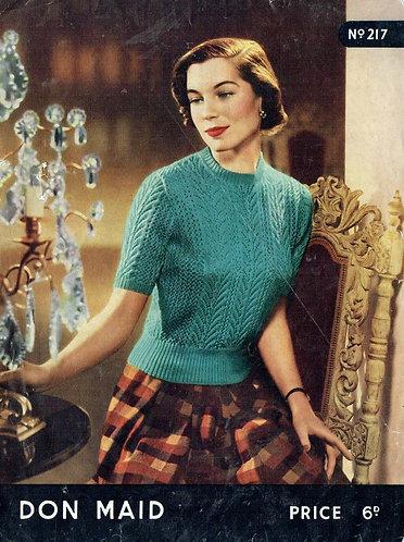 Don Maid 217 ladies lace jumper vintage knitting pattern PDF Download