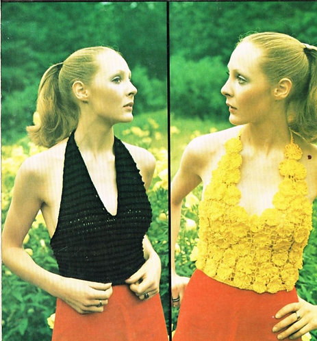 5152T ladies summer halter top vintage crochet pattern  PDF Download