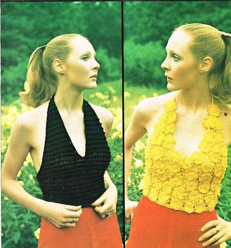5152T ladies summer halter top vintage crochet pattern  PDF Download