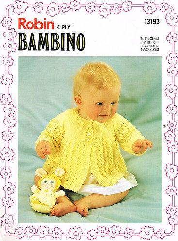 13193R baby matinee coat vintage knitting pattern  PDF Download