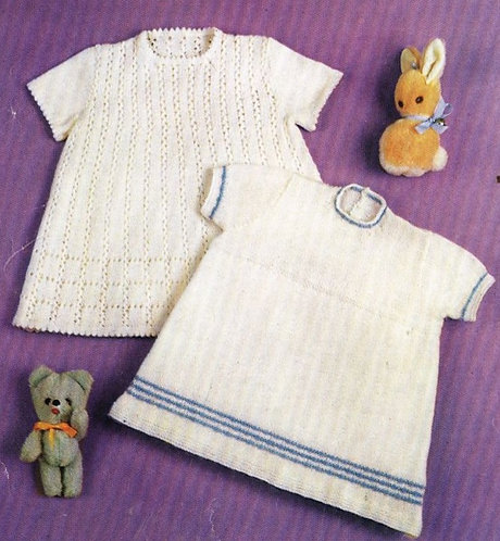 1089M baby dresses vintage knitting pattern  PDF Download