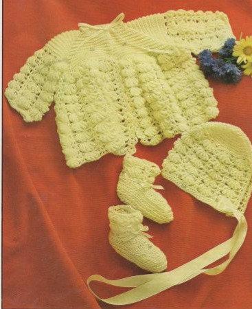 1578M baby matinee coat set vintage crochet pattern  PDF Download