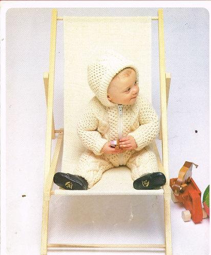 8713P baby aran onesie vintage knitting pattern  PDF Download