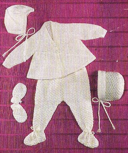 1228H baby pram suit vintage knitting pattern  PDF Download