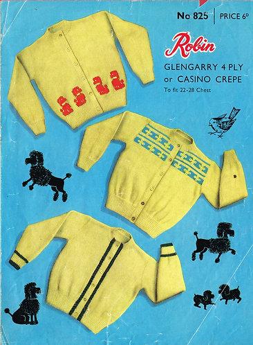 825R baby cardigan vintage knitting pattern  PDF Download