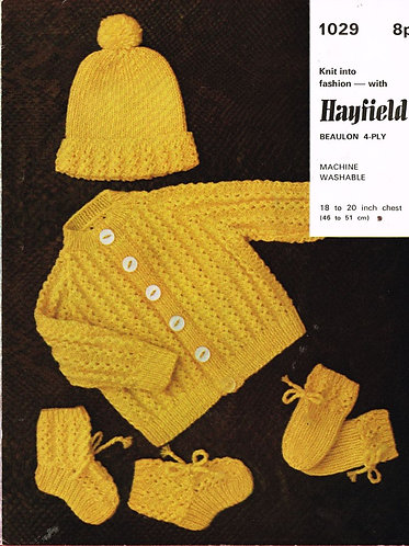 1029H baby cardigan set vintage knitting pattern  PDF Download