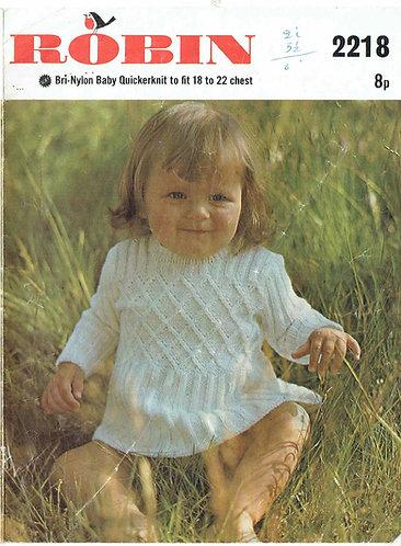 2218R baby dress vintage knitting pattern  PDF Download