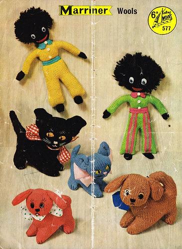 577M toy golly vintage knitting pattern PDF Download