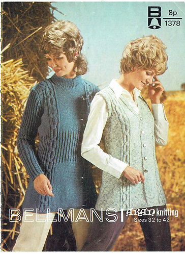 1378Bell ladies vintage knitting pattern PDF