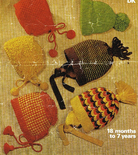 1628M baby hats vintage knitting pattern  PDF Download