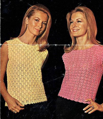 817T ladies summer tops vintage crochet pattern  PDF Download