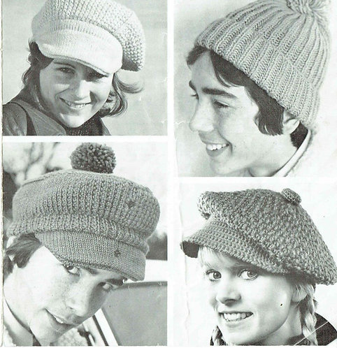 117H ladies mens hat vintage knitting crochet pattern  PDF Download