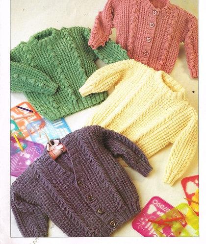 7105T baby jumper cardigan vintage knitting pattern  PDF Download