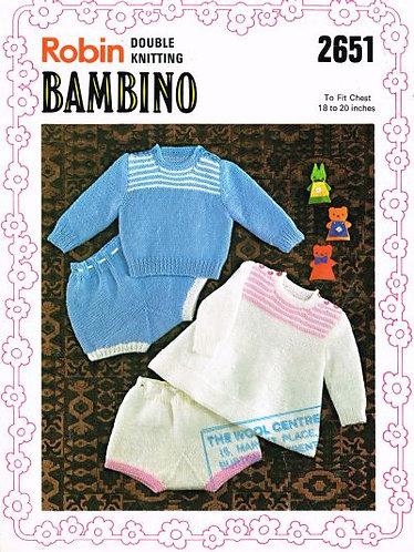 2651R baby dress sets vintage knitting pattern  PDF Download