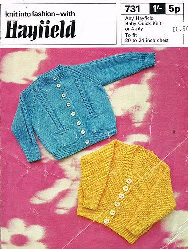 731H baby cardigan vintage knitting pattern  PDF Download