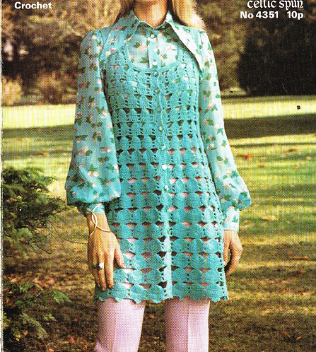 4351 ladies waistcoat Vintage crochet pattern  PDF Download