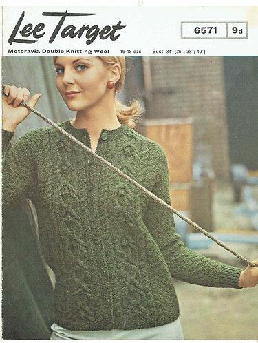 6571Lt ladies cardigan vintage knitting pattern PDF Download