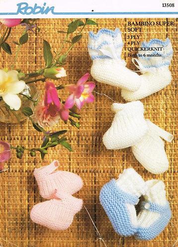 13508R baby bootees vintage knitting pattern  PDF Download