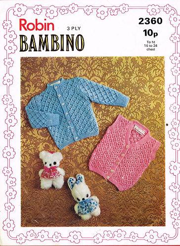 2360R baby cardigan waistcoat vintage knitting pattern  PDF Download