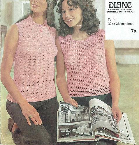 921H ladies summer top Vintage crochet & knitting pattern  PDF Download