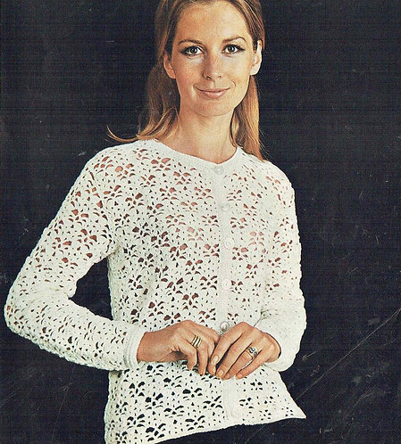 838T ladies cardigan vintage crochet pattern PDF Download
