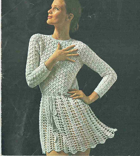 62T ladies dress vintage crochet pattern  PDF Download