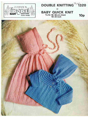 1320P baby cape matinee coat vintage knitting pattern  PDF Download
