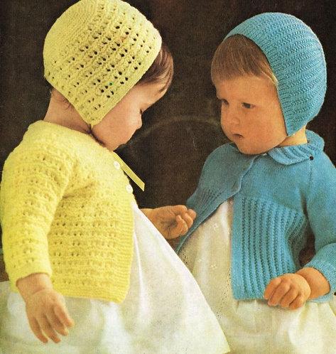 553H baby matinee coat set vintage knitting pattern PDF Download