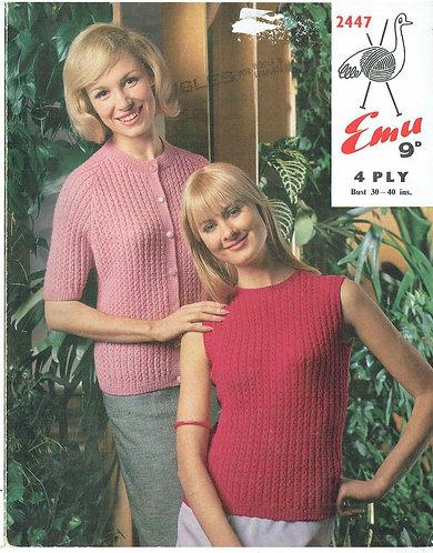 2447 ladies summer top cardigan Vintage knitting pattern PDF Download