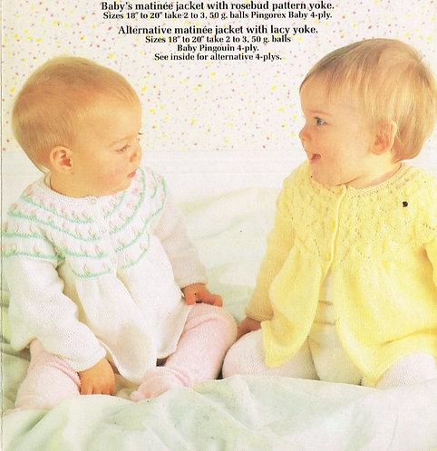 8330P baby matinee coats vintage knitting pattern  PDF Download