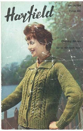 194H ladies cardigan Vintage knitting pattern  PDF Download