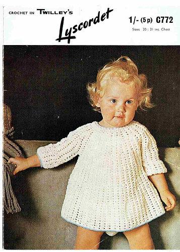 772T baby dress vintage crochet pattern  PDF Download