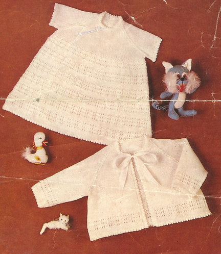1114M baby dress and matinee coat vintage knitting pattern   PDF Download